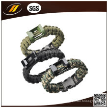 New Designs Beer Bottle Opener Paracord Bracelet with Compass Fire Starter Whistle Buckle