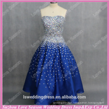 RP0087 real customize ruched satin petticoats crystal beads with initials blue dresses princess skirt prom dress real pictures