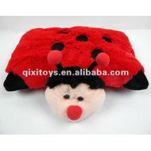 almohada de juguete de mariquita felpa suave relleno rojo
