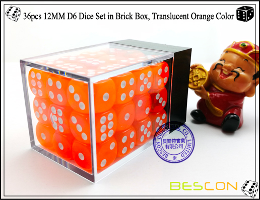36pcs 12MM D6 Dice Set in Brick Box, Translucent Orange Color-3