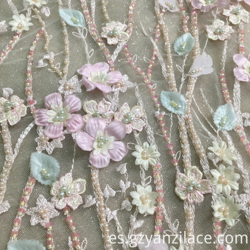 Pink Sequins Lace Fabrics