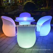 Sistema de control de la aplicación led color de tabla cambiando muebles de jardín al aire libre led recargable