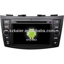 Android System lecteur dvd de voiture pour Suzuki Swift avec GPS, Bluetooth, 3G, ipod, jeux, double zone, contrôle du volant
