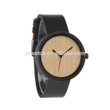 Круглые деревянные часы кожаный ремешок признавают изготовленный на заказ Логос гравировки