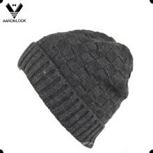 Hombres Jacquard Cuff Knit Beanie con borde
