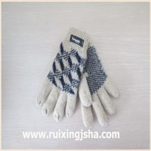 Jacquard de malha luvas de lã com forro de isolamento