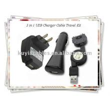 OEM 3 en 1 Chargeur USB Câble Travel Kit pour iPhone (noir)