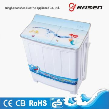 Blue Glass Cover 7.8KG Semi Automatic Twin Tub Mesin Cuci