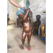outdoor garden decoration metal boy water fountain statue peeing fountain