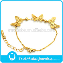 Nueva llegada 18k chapado en oro 316 acero inoxidable mariposa amistad patrón elástico joyería de la pulsera