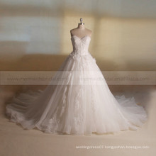 Dressy Princess Sweet Heart A-line Lace Beads Handmade Flowers Big Long Train Wedding Dress