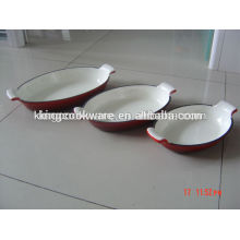 oval enamel coating cast iron roaster pan fish dish