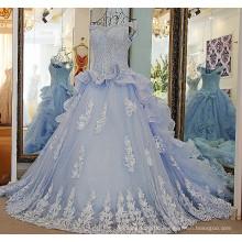 LS57001 Light blue off shoulder wedding gowns with a crumb-catcher neckline crystal chapel train organza beach wedding dress