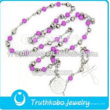 Vakuumüberzug 5mm Rosenkranz Perle Ketten religiöse Halskette mit Laser geschnitten geätzt Stammes-Muster Jungfrau Maria Kreuz Anhänger Schmuck