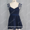 RP0140 Real pictuer cap sleeve lace cocktail short dresses latest dress patterns for girls mini applique backless cocktail dress