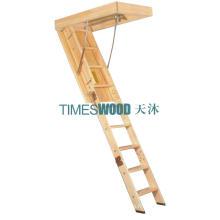 Échelle élégante en bois déployante (modèle non isolé)