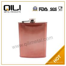 7oz metal acero inoxidable cobre pintado frasco de la cadera