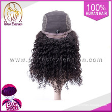 Cheap Price Color 1B Peruvian Kinky Curly Hair Short Cut Full Lace Wigs