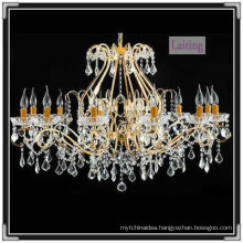 European Crystal Pendant Chandelier & Golden Light