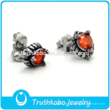 TKB-E0083 Cz Stone Jewelry Haga sus propios pendientes de garra de dragón Biker de moda