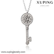 Necklace-00066 Fashion Charm Rhodium CZ Collar de joyería de imitación de acero inoxidable con llave clave