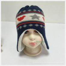2016 Double Layer 100% Acrílico Novo Bonito Jacquard Bonito Knitted Kids Earflap Hat