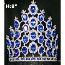 8 inches sapphire tiara crown with adjustable band