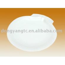 Assiette à condiments en porcelaine blanche