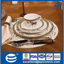 2015 middle east hot products luxury magnesia porcelain dinnerware with gold horse design