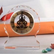 Relógio de mesa redondo de cristal claro Ks060406