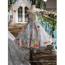 LS00147 la mejor venta del bebé de lujo del applique del cordón del hombro ató los vestidos de las muchachas de flor