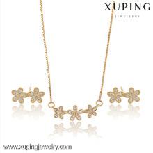 63719-Xuping filles mignonnes élégantes fleurissent ensemble de bijoux de charme avec CZ Stone