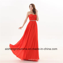 Frauen Chiffon Schatz Kristalle A-Line langes Abendkleid