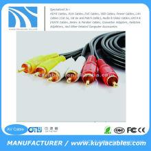5FT (1.5M) Câble plaqué or Triple 3-RCA Composite Câbles AV Câble vidéo audio Câble audio