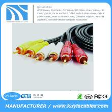 5FT (1.5M) Позолоченный шнур Тройной 3-RCA композитный AV-кабели Аудио-видео кабель Аудио кабель
