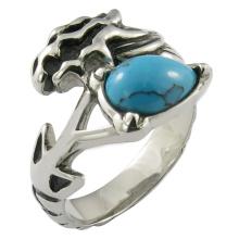 Crâne / Biker avec Bar Cadre Anneau de pierre turquoise