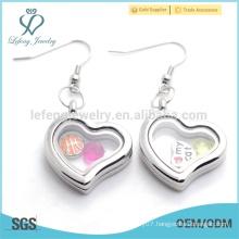 Handmade big heart shape plain silver memory floating earrings with magnetic