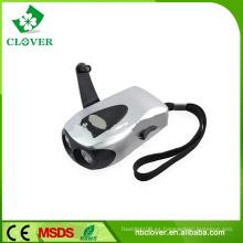 Caliente-vendiendo la linterna recargable del dínamo de la sacudida de la mano del LED 2 del plástico con la carga del teléfono móvil