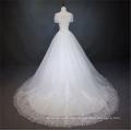 Vestido de boda de la manga del casquillo del nuevo verano 2018 Alibaba del vestido de boda por encargo del vestido de boda de China con el diseño con cordones