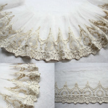Luxury Golden Thread Mesh Lace Embroidery Ribbon Trims