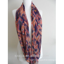 Fashion floral print polyester voile infinity scarf