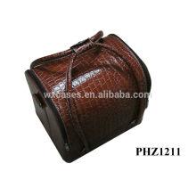 venta caliente de la bolsa de cosméticos de cuero con patrón de cocodrilo marrón y 4 bandejas extraíbles dentro de