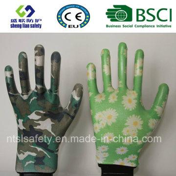 Guantes de seguridad guantes de jardín impreso con nitrilo (GN901)