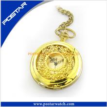 Ouro aço inoxidável caso relógio de bolso com ferro cadeia