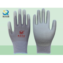 Forro de poliéster gris con guantes de seguridad revestidos de poliuretano gris