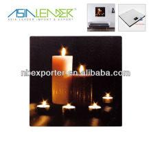 Decoración romántica de la vela LED del cuadro para la pared