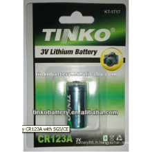 CR123A 3.0V batterie Lithium 1300mAh avec la bonne qualité