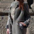 Spanien Merino Shearling Coat Wite Flower For Lady