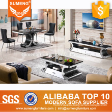 modern dining room furniture marble top stainless steel sets from guangzhou