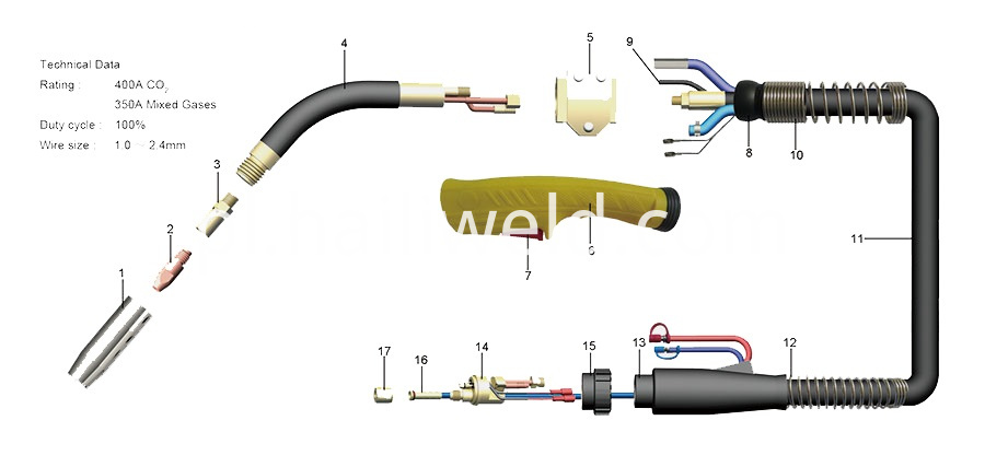 Maxi 4000 Water Cooled Mig Welding Torch For Trafimet